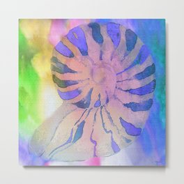NAUTILUS SEA SHELL BLUE AND PURPLE IMPRESSIONS Metal Print