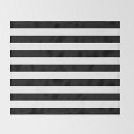 Midnight Black and White Stripes Throw Blanket