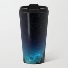 Black Trees Turquoise Milky Way Stars Metal Travel Mug