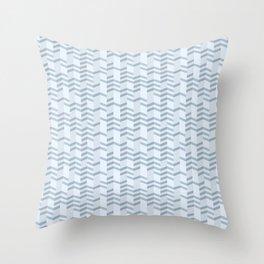 Blue Chevron Cuts Throw Pillow