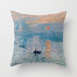 Claude Monet Impression Sunrise Throw Pillow