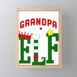 Mens Grandpa Elf Christmas - Grandparents Gift Framed Mini Art Print
