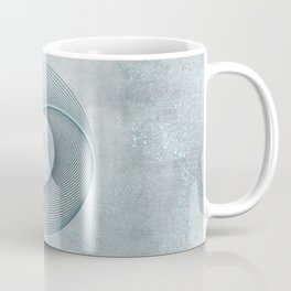 Geometrical Line Art Circle Distressed Teal Coffee Mug