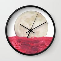 moonrise Wall Clocks featuring moonrise by sharon