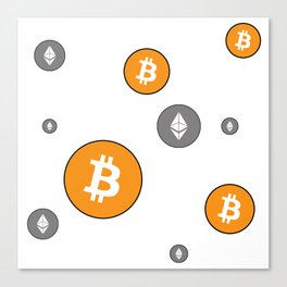 Ethereum and Bitcoin Pattern Canvas Print