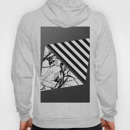 Stripes N Marble 3 - Abstract Black and white stripes and marble textured triangles on metallic Hoody