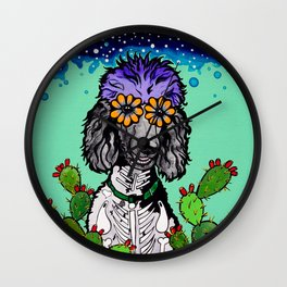 Jude the Parti Poodle Wall Clock