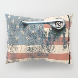 Door old car and falg USA America Pillow Sham