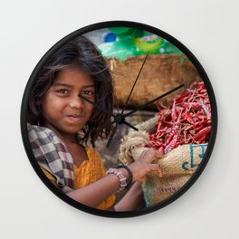 Girl with Chilies Wall Clock