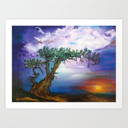 The Tree in Sunset Art Print