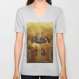 """Fra Angelico (Guido di Pietro) """"Coronation of the Virgin"""" (Uffizi) 1432 Unisex V-Neck"""