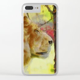"""The King"" Big Cat Lion Artwork Clear iPhone Case"
