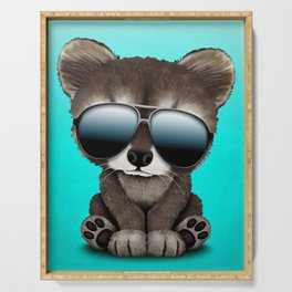 Cool Baby Raccoon Wearing Sunglasses Serving Tray