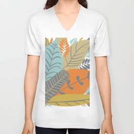 Bright Tropical Leaf Retro Mid Century Modern Unisex V-Neck