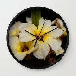 Yellow Mexican Satin Flowers Wall Clock