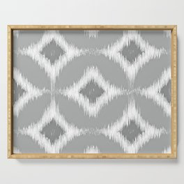 Elegant White Gray Retro Circles Squares Ikat Pattern Serving Tray
