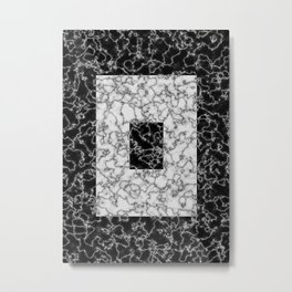 Black and white marble texture 5 Metal Print