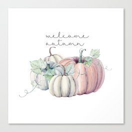 welcome autumn orange pumpkin Canvas Print