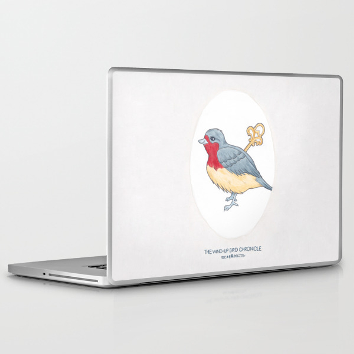 Haruki Murakami's The Wind-Up Bird Chronicle // Illustration of a Bird with  a Wind-up Key in Pencil Laptop & iPad Skin by arosecast