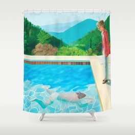 david hockney pool with two figures Shower Curtain