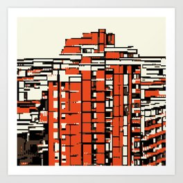 Pixelated Buildings in Belgrade Art Print
