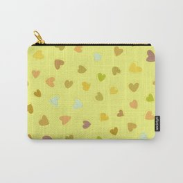 Love, Romance, Hearts - Yellow Green Brown Blue Carry-All Pouch