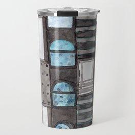 Gray Facade with Lighted Windows Travel Mug