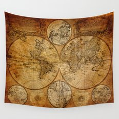 Vintage Map Wall Tapestry