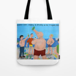 Bad Painting 57: Weekend lads drinking & smoking on the Margate Steps. Tote Bag