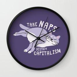 Take Naps Destroy Capitalism - Anti-Capitalist Cat Purple Wall Clock