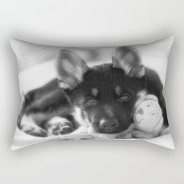 Black white portrait of a shepherd puppy. Rectangular Pillow
