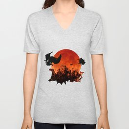 Spooky Halloween Blood Moon Screaming Birds And Spider Unisex V-Neck