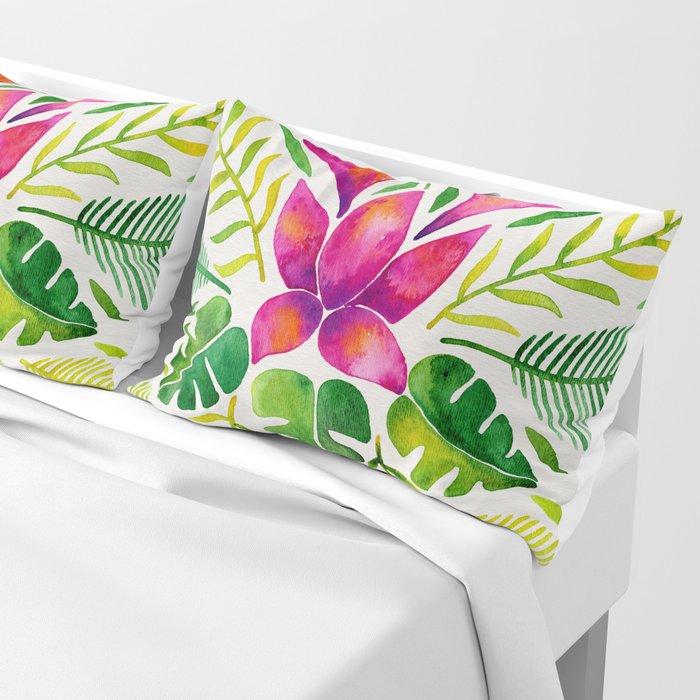 Tropical Symmetry – Pink & Green Pillow Sham