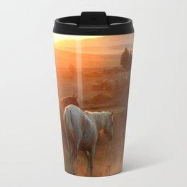 Sunset on Horses Photography Print Travel Mug