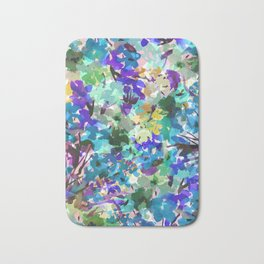 Ocean Blue Wildflowers Bath Mat