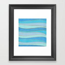 Waves Pattern - Golden Glitter Framed Art Print