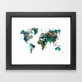 Map of the World tree #map #world Framed Art Print