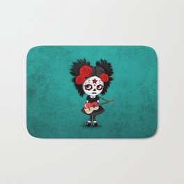 Day of the Dead Girl Playing Singapore Flag Guitar Bath Mat