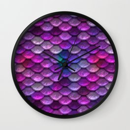 Shimmering Mermaid Scales In Bright Pink Wall Clock