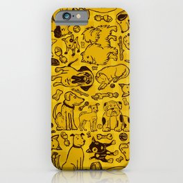 Pup Party in Mustard Gingham iPhone Case