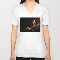 violin V-neck T-shirts featuring Violin by Nero749