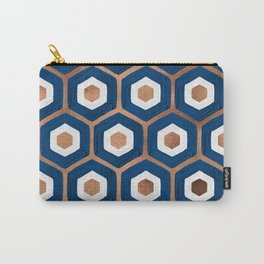 Hexagon Honeycomb Pattern – Denim & Rose Gold Palette Carry-All Pouch