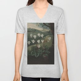 The Persian Cyclamen The Temple of Flora Unisex V-Neck