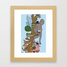 The Animals of the Jungle Tree Framed Art Print
