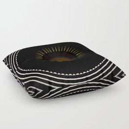 Modern Circular Abstract with Gold Mandala Floor Pillow