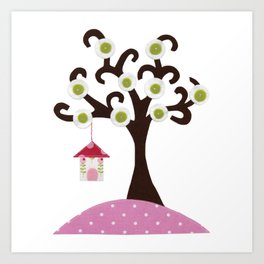 Bird house tree Art Print