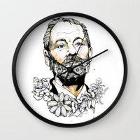bill murray Wall Clocks featuring Bill F***ing Murray. by ellaclawley