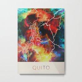 Quito Ecuador Watercolor City Street Map Metal Print