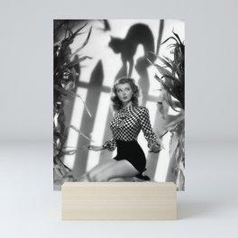 Black Cats Don't Scare Girls black and white photograph Mini Art Print