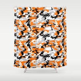Orange Camouflage Pattern Shower Curtain